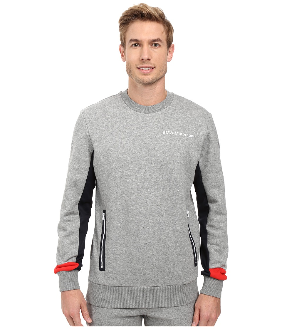 PUMA - BMW MSP Crew Neck Sweater (Medium Gray Heather) Men's Sweater