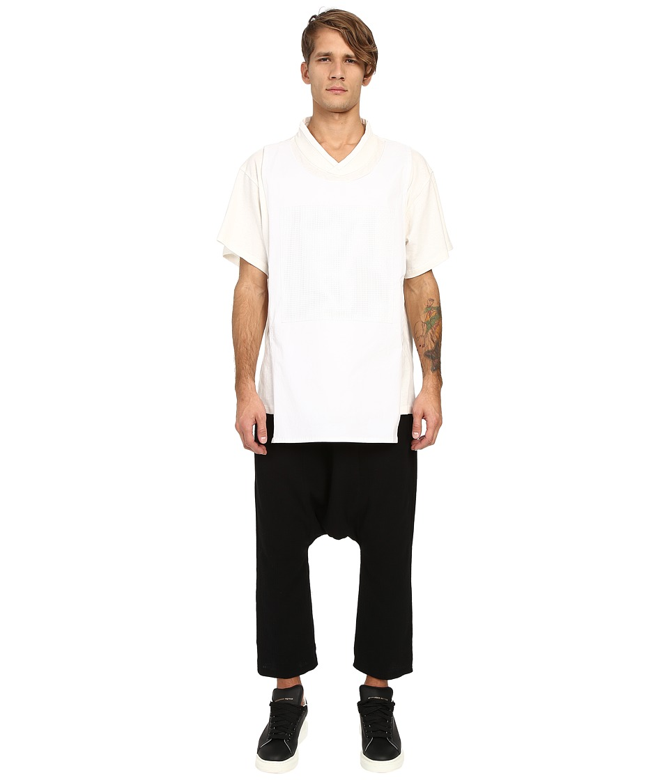 D.GNAK - Traditional Collar Layered T-Shirt (White) Men's T Shirt