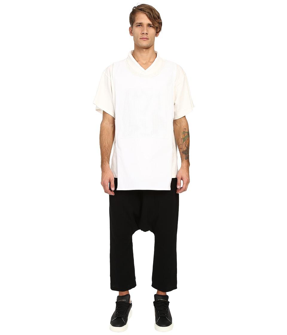 D.GNAK - Traditional Collar Layered T-Shirt (White) Men's T Shirt