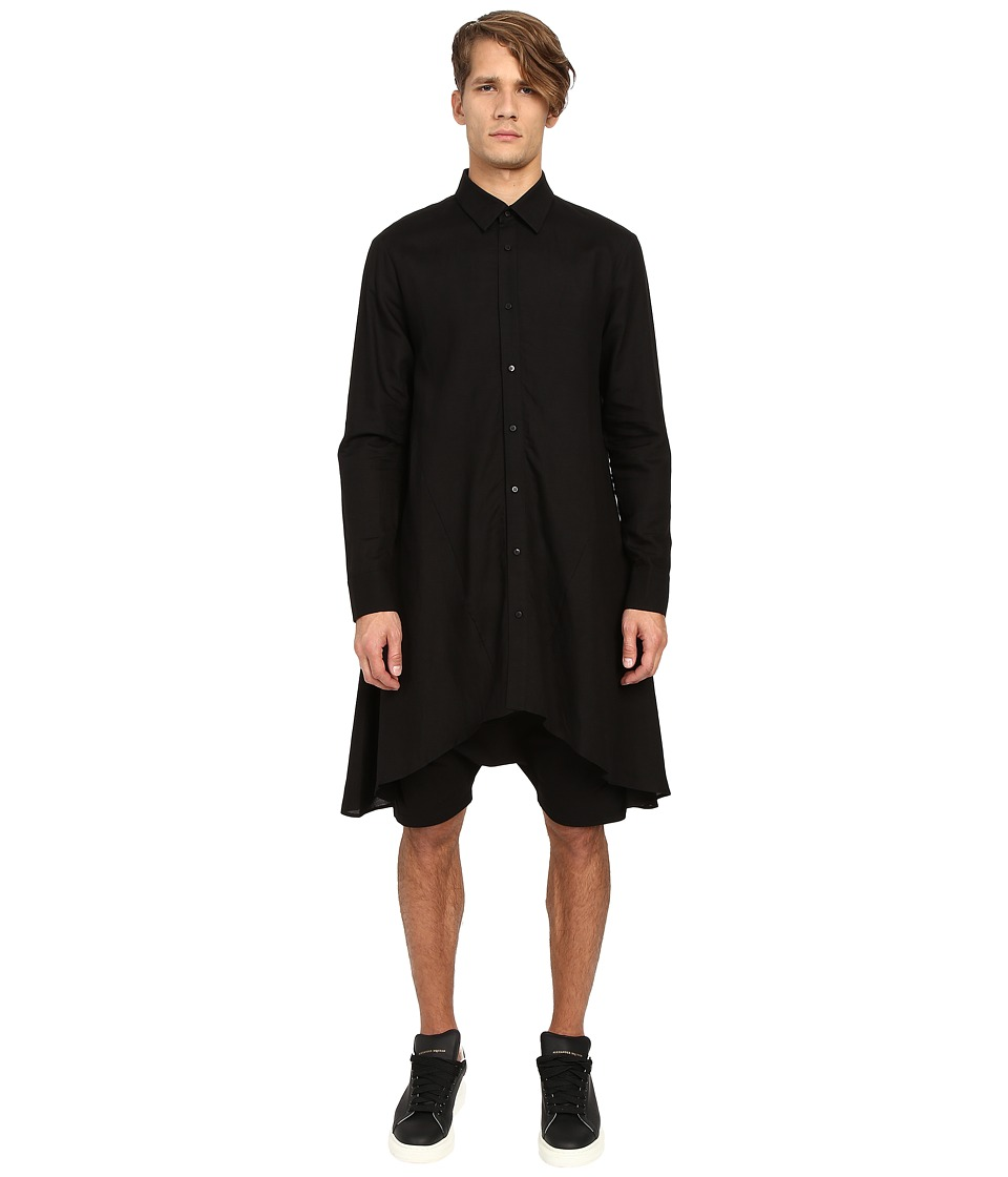 D.GNAK - Draped Shirt (Black) Men's Clothing