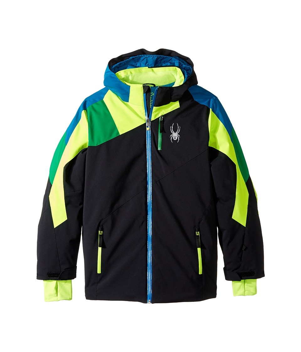 Spyder Kids - Avenger Jacket (Big Kid) (Black/Bryte Green/Jungle) Boy's Coat