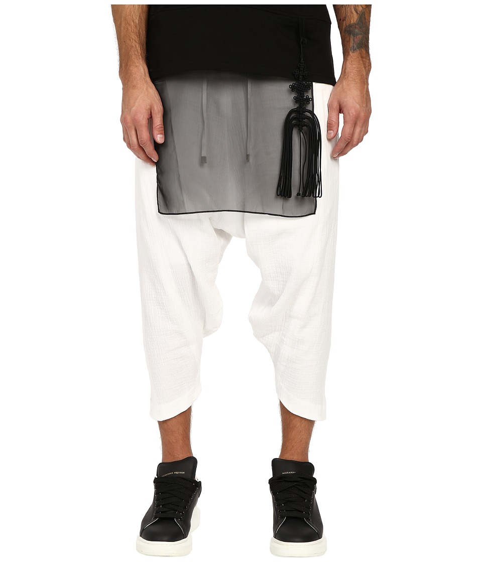 D.GNAK - Diagonal Hem Cropped Pants (White) Men's Casual Pants