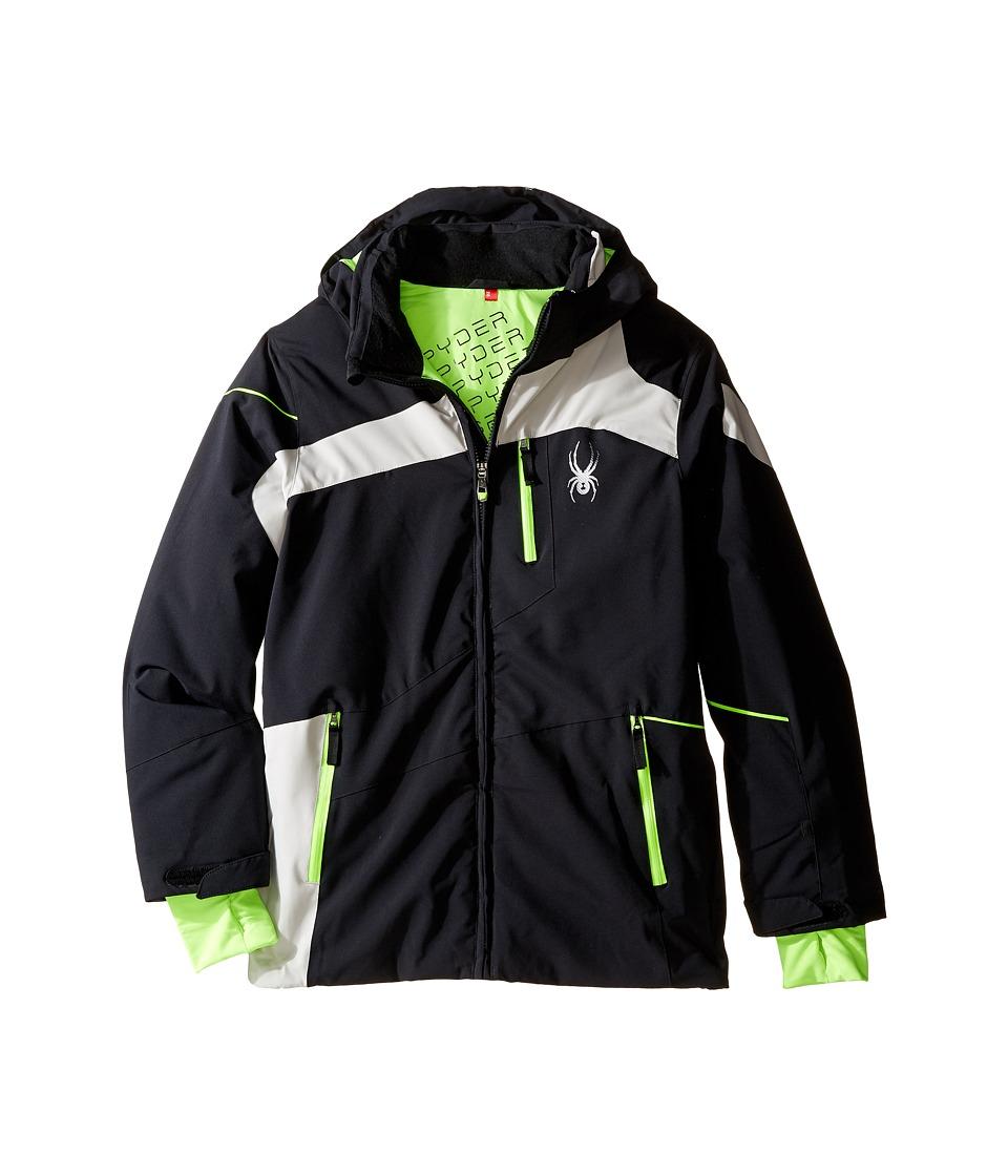 Spyder Kids - Rival Jacket (Big Kids) (Black/Cirrus/Bryte Green) Boy's Coat