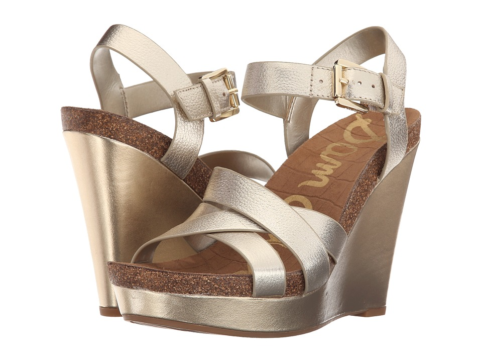 Sam Edelman - Nelson (Jute Tumbled Opal Metallic Leather) Women's Wedge Shoes