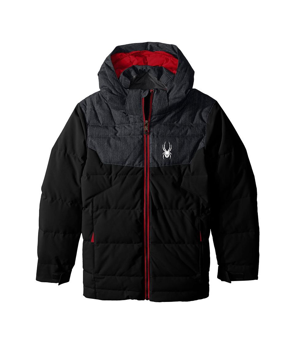 Spyder Kids - Clutch Down Jacket (Big Kids) (Black/Herringbone/Red) Boy's Coat