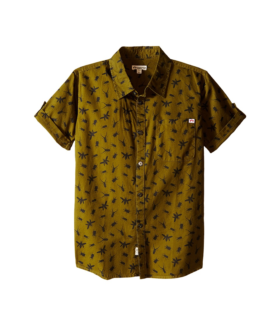Appaman Kids - Vintage Inspired Button Up Shirt with Insect Print (Toddler/Little Kids/Big Kids) (Olive Branch) Boy's Short Sleeve Button Up