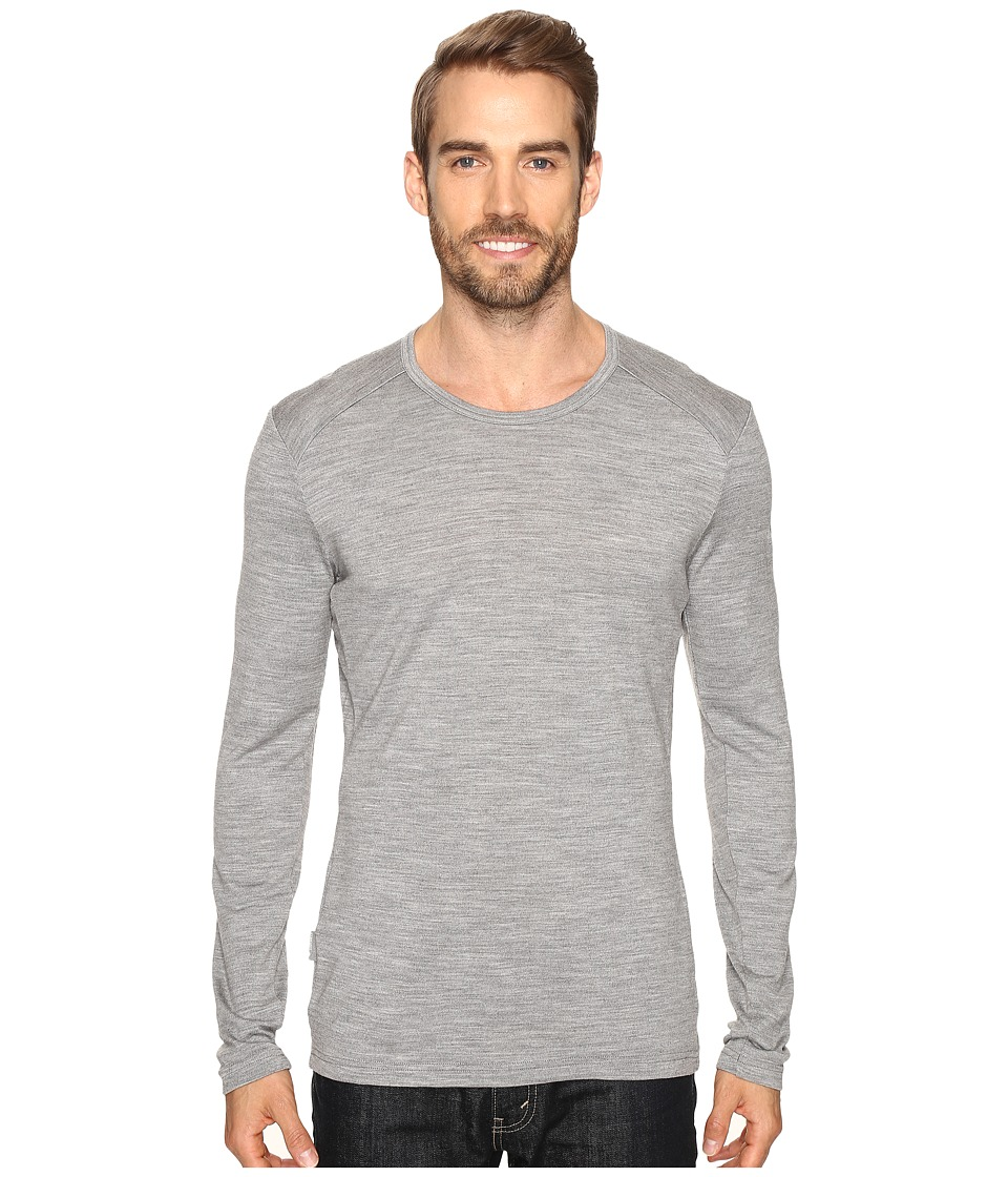 Icebreaker - Tech Top Long Sleeve Crewe (Metro Heather/Metro Heather/Metro Heather) Men's Clothing