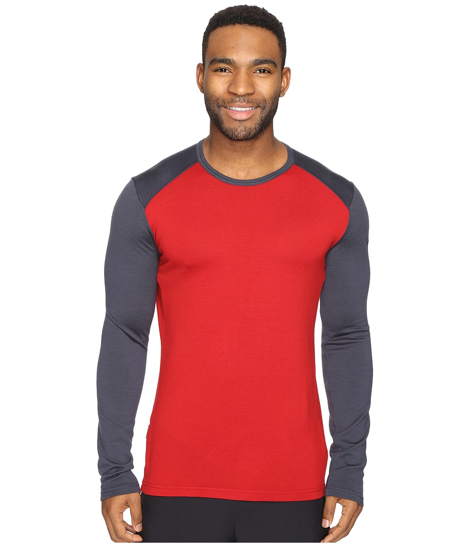 Icebreaker - Tech Top Long Sleeve Crewe (Oxblood/Stealth/Stealth) Men's Clothing