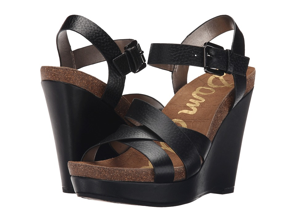 Sam Edelman - Nelson (Black New Tumble Leather) Women's Wedge Shoes