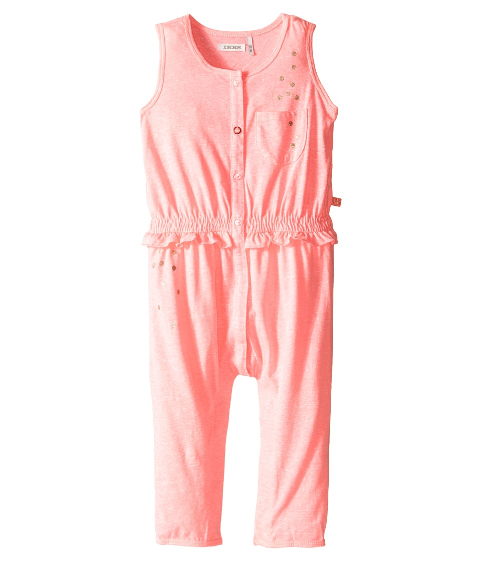 IKKS - Jersey Jumpsuit with Metallic Polka Dots Button Up Front Snaps Up (Infant) (Neon Pink) Girl's Jumpsuit & Rompers One Piece