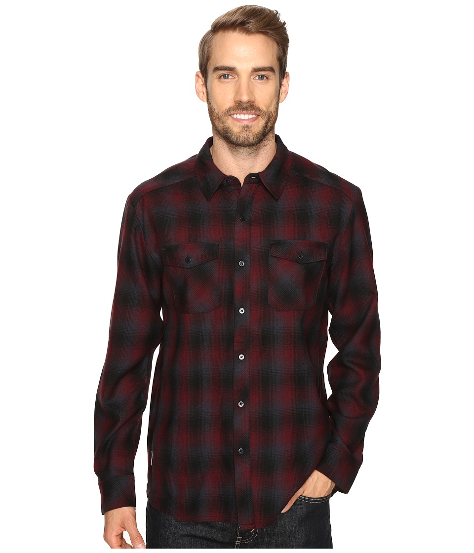 Icebreaker - Lodge Long Sleeve Flannel Shirt (Redwood/Stealth/Black) Men's Clothing