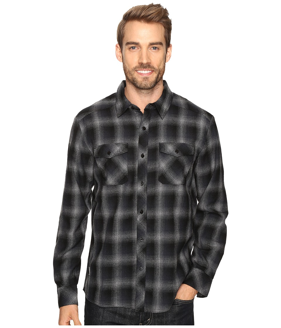 Icebreaker - Lodge Long Sleeve Flannel Shirt (Metro Heather/Stealth/Black) Men's Clothing