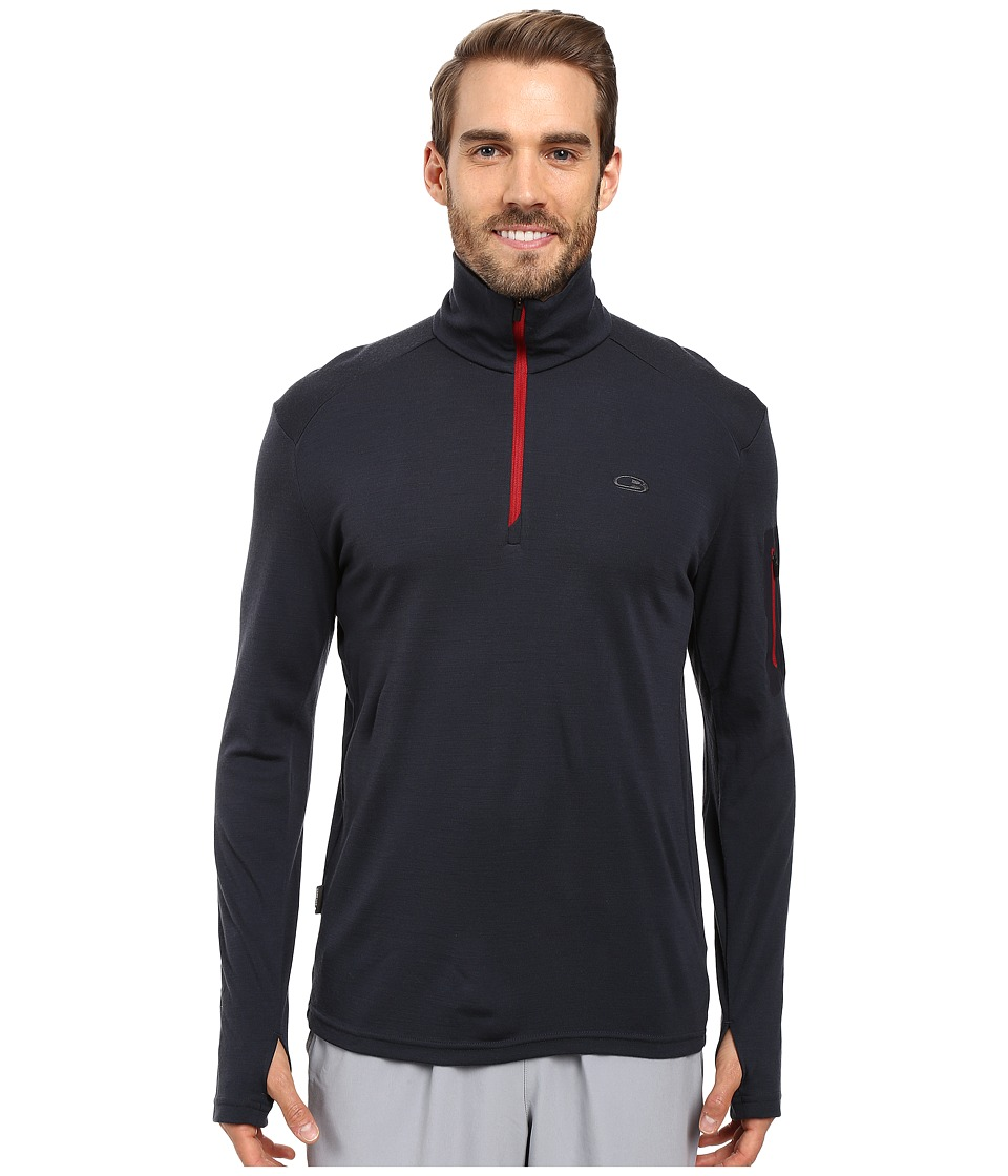 Icebreaker - Apex Long Sleeve Half Zip (Stealth/Stealth/Oxblood) Men's Clothing