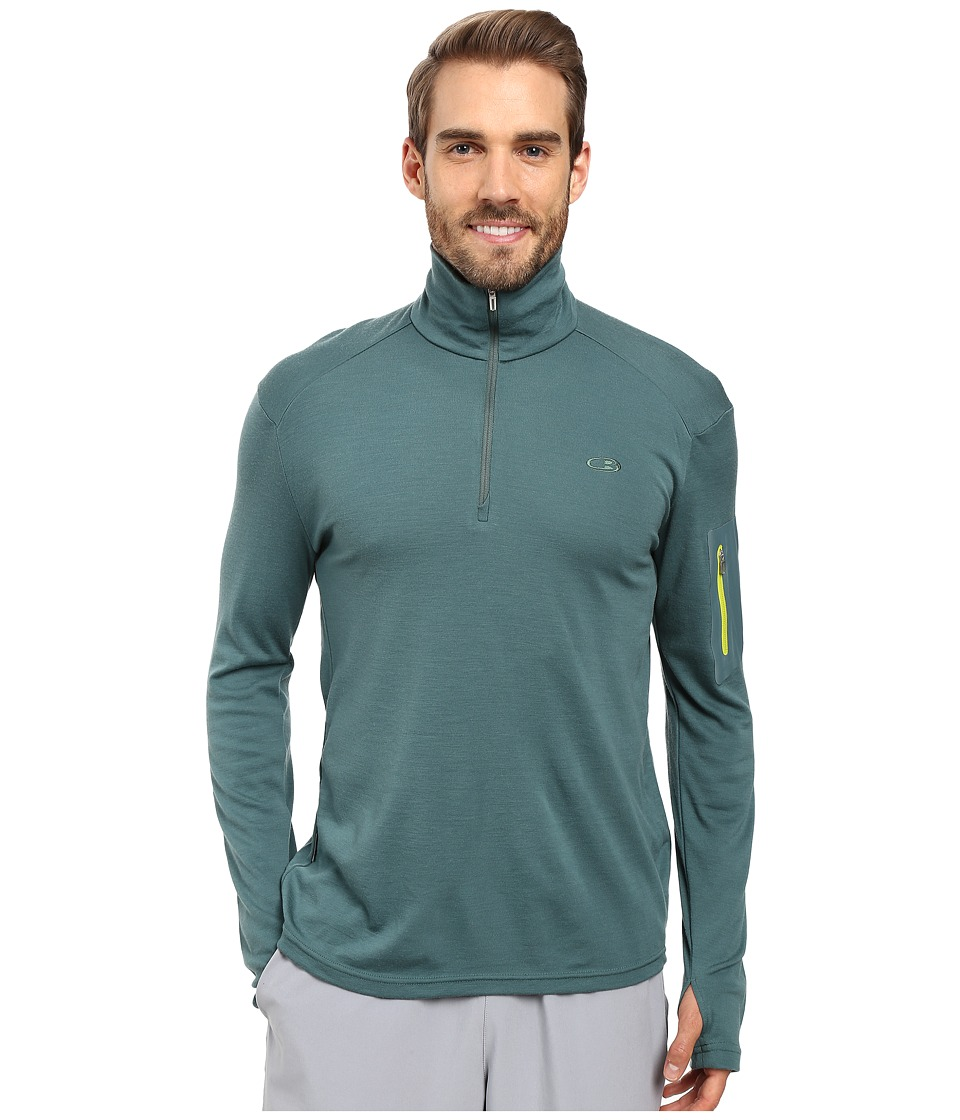 Icebreaker - Apex Long Sleeve Half Zip (Canoe/Canoe/Cactus) Men's Clothing