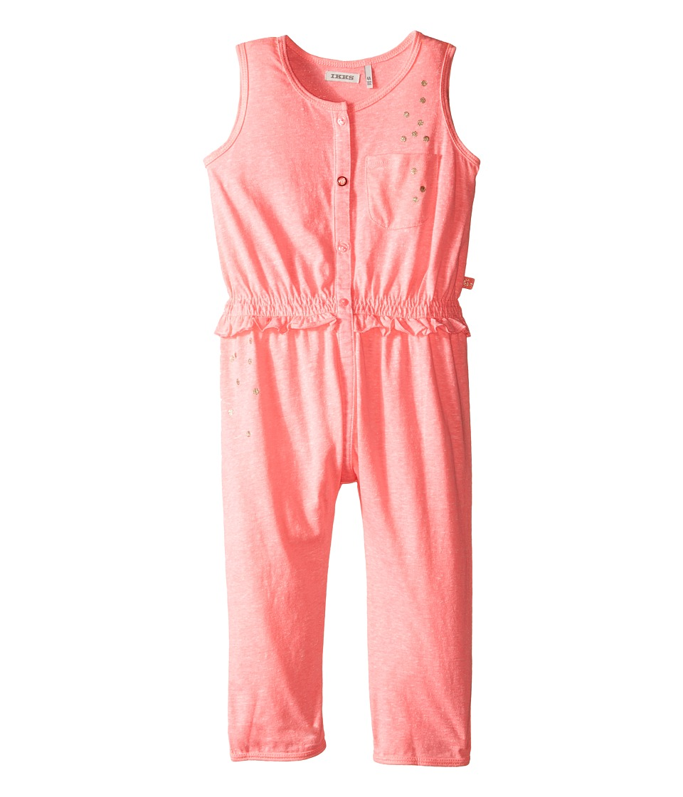 IKKS - Jersey Jumpsuit with Metallic Polka Dots Button Up Front No Snaps (Toddler) (Neon Pink) Girl's Jumpsuit & Rompers One Piece