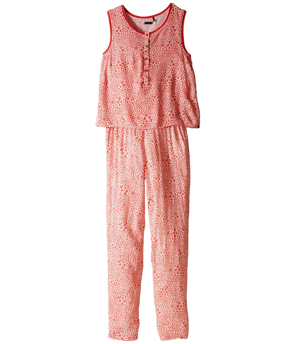 IKKS - Sleeveless Printed Jumpsuit with 2-in-1 Look/Button Front/Loose Pants Fit Elastic Waistband (Little Kids/Big Kids) (Coral) Girl's Jumpsuit & Rompers One Piece