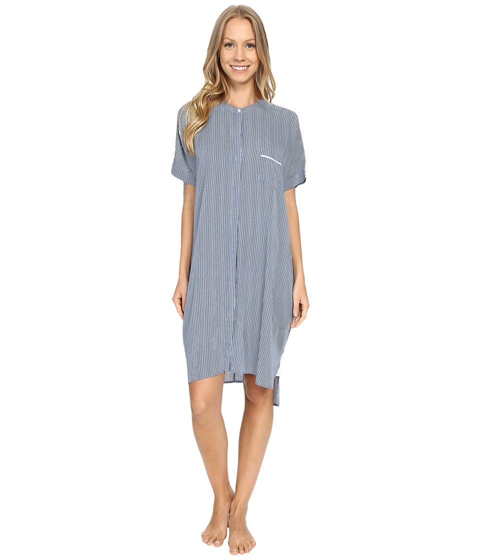 DKNY - City Break Short Sleeve Sleepshirt (Peacoat Stripe) Women's Pajama