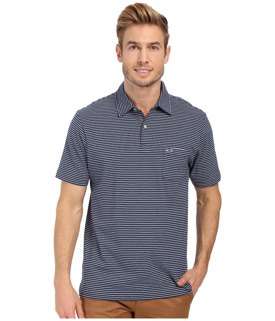 Vineyard Vines - Heather Feeder Stripe Polo (Deep Bay) Men's Clothing
