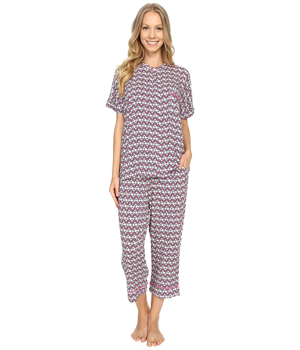 DKNY - City Break Capris Set (Post it Pink Geo) Women's Pajama Sets