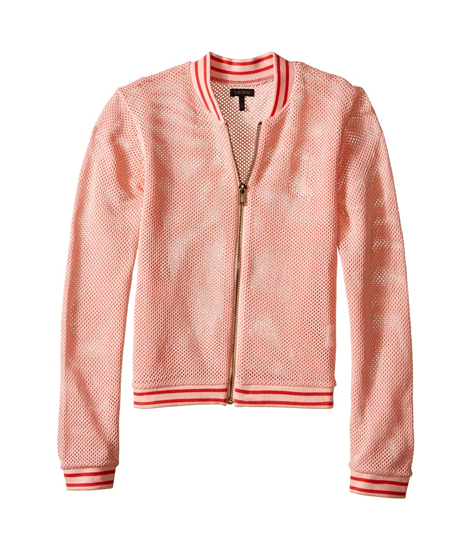 IKKS - Mesh Letterman-Style Jacket with Sequined K Patch on Chest Zipper Front (Little Kids/Big Kids) (Coral) Girl's Coat