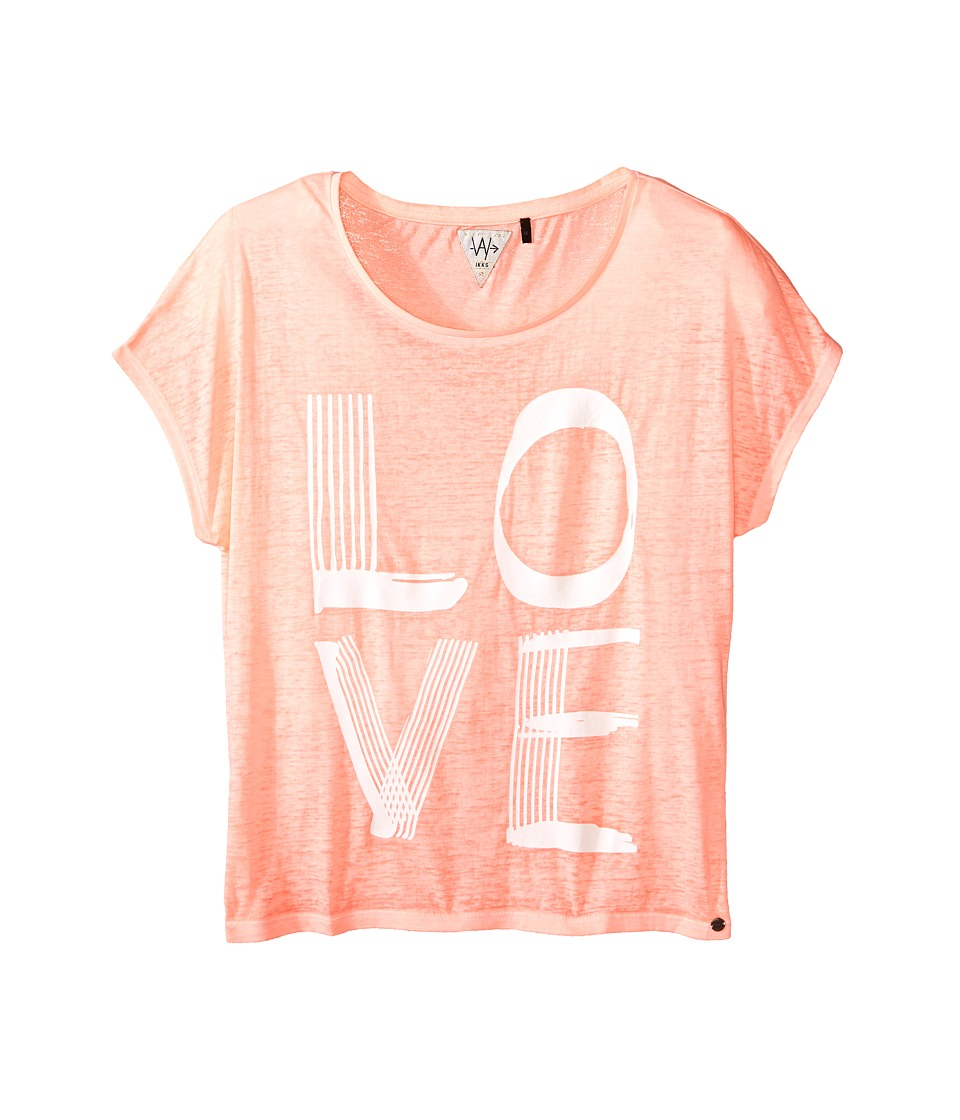 IKKS - Jersey Top with Burnout Short Sleeves Follow Your Dreams Arrow Graphic (Big Kids) (Neon Coral) Girl's Short Sleeve Pullover