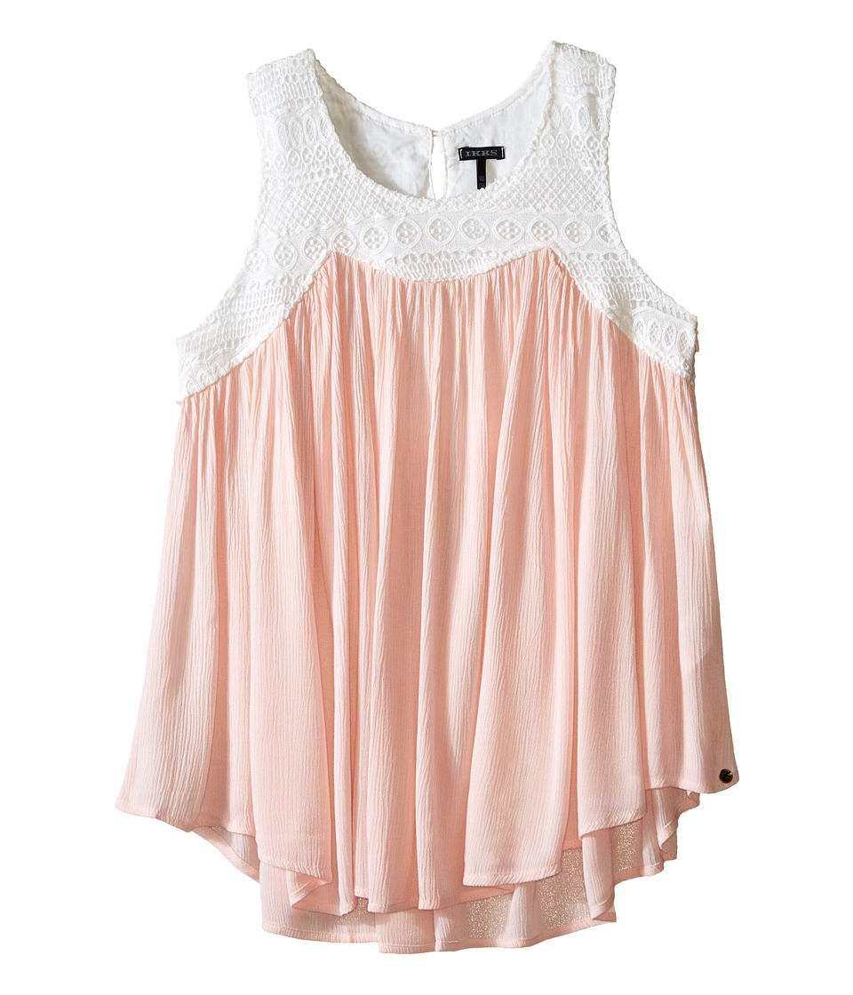 IKKS - Sleeveless Swing Top Blouse in Crinkled Fabric with White Crocheted Top (Little Kids/Big Kids) (Coral) Girl's Sleeveless