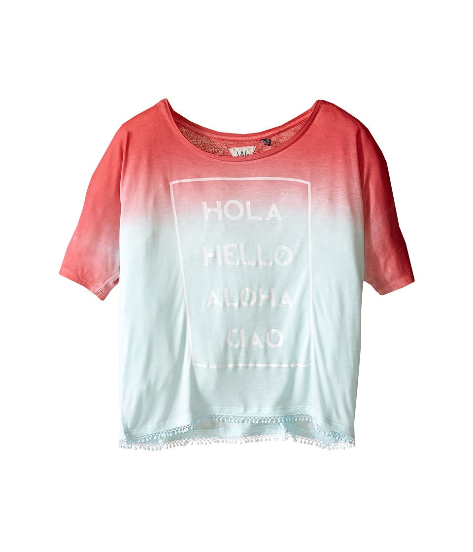 IKKS - Dip Dyed Loose Top with Fringe Bottom Hola Hello Aloha Ciao Graphic (Big Kids) (Mint) Girl's T Shirt