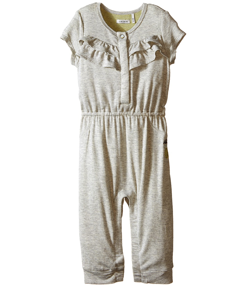 IKKS - Jersey Jumpsuit with Ruffles/Snap Front with Cat/Pineapple Graphic on Back Snaps Up (Infant) (Dark Grey) Girl's Jumpsuit & Rompers One Piece