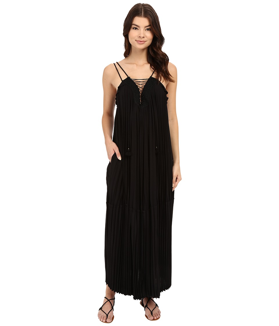 Rachel Zoe - Sybilla Pleated Lace-Up Maxi (Black) Women's Dress