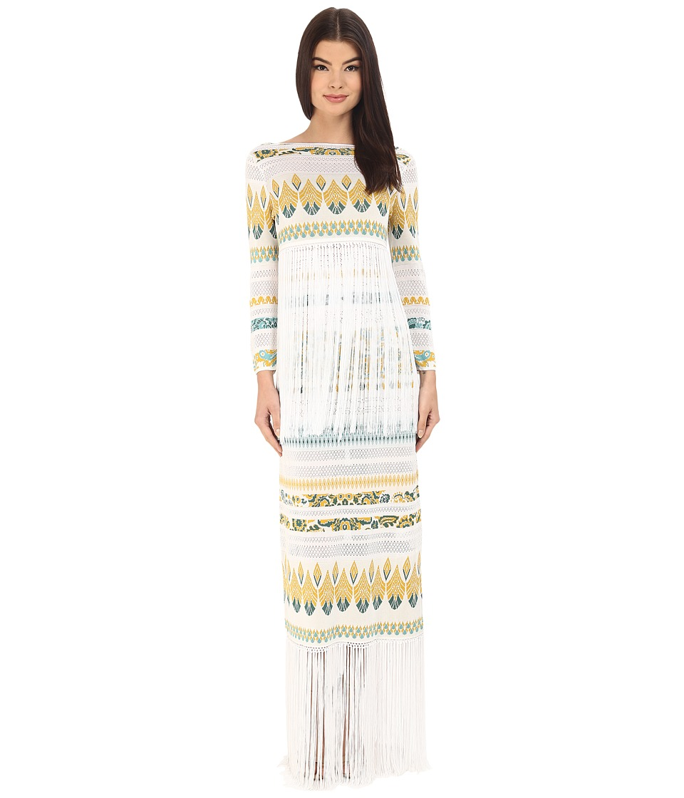 Rachel Zoe - Francesca Knit with Fringe Printed Dress (White/Turquoise/Spice) Women's Dress