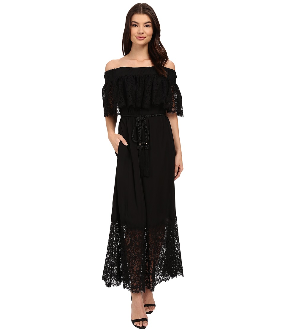 Rachel Zoe - Pila Off the Shoulder Lace Midi Dress (Black) Women's Dress