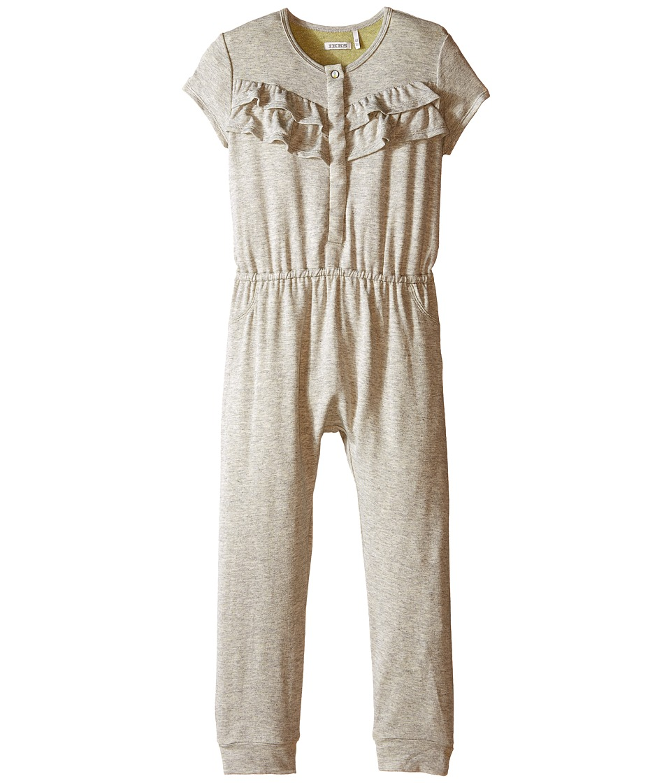 IKKS - Jersey Jumpsuit with Ruffles/Snap Front with Cat/Pineapple Graphic on Back No Snaps (Toddler) (Dark Grey) Girl's Jumpsuit & Rompers One Piece