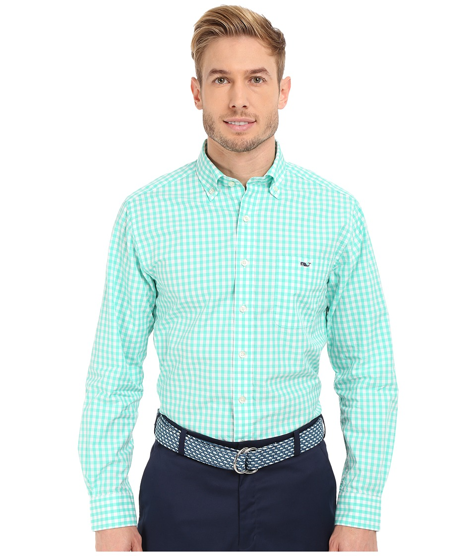 Vineyard Vines - Corozo Gingham Slim Tucker Shirt (Antigua Green) Men's Long Sleeve Button Up