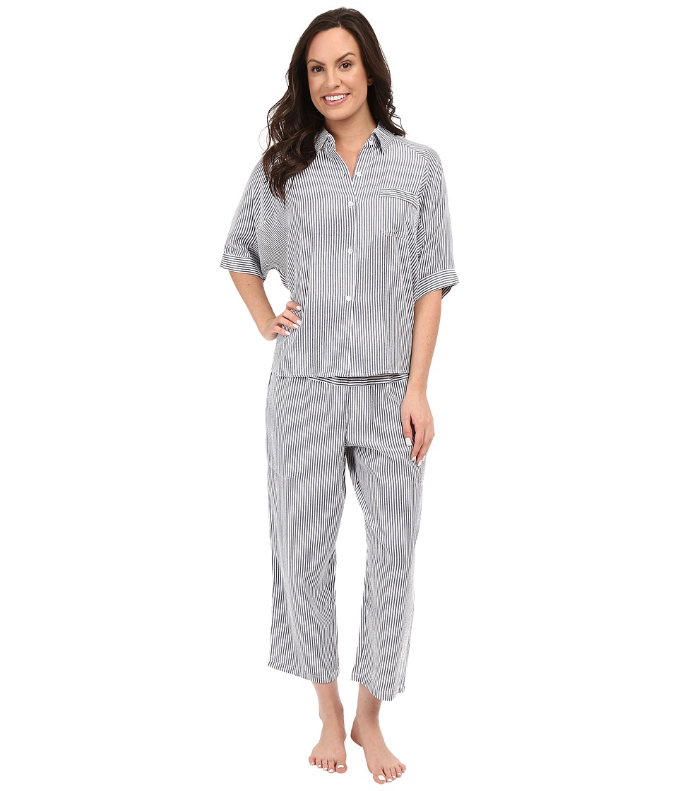 DKNY - Beach to Street 1/2 Sleeve Top and Capris Set (Peacoat Seersucker) Women's Pajama Sets