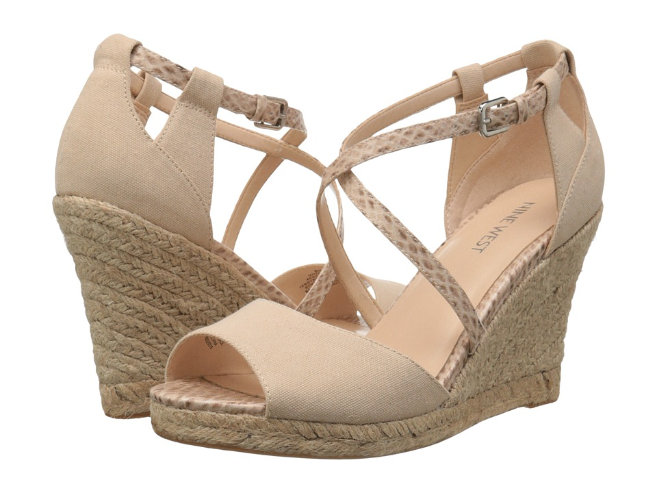 Nine West - Naci (Playa Nude/Playa Nude Piedra Canvas/Coco Snake) Women's Wedge Shoes
