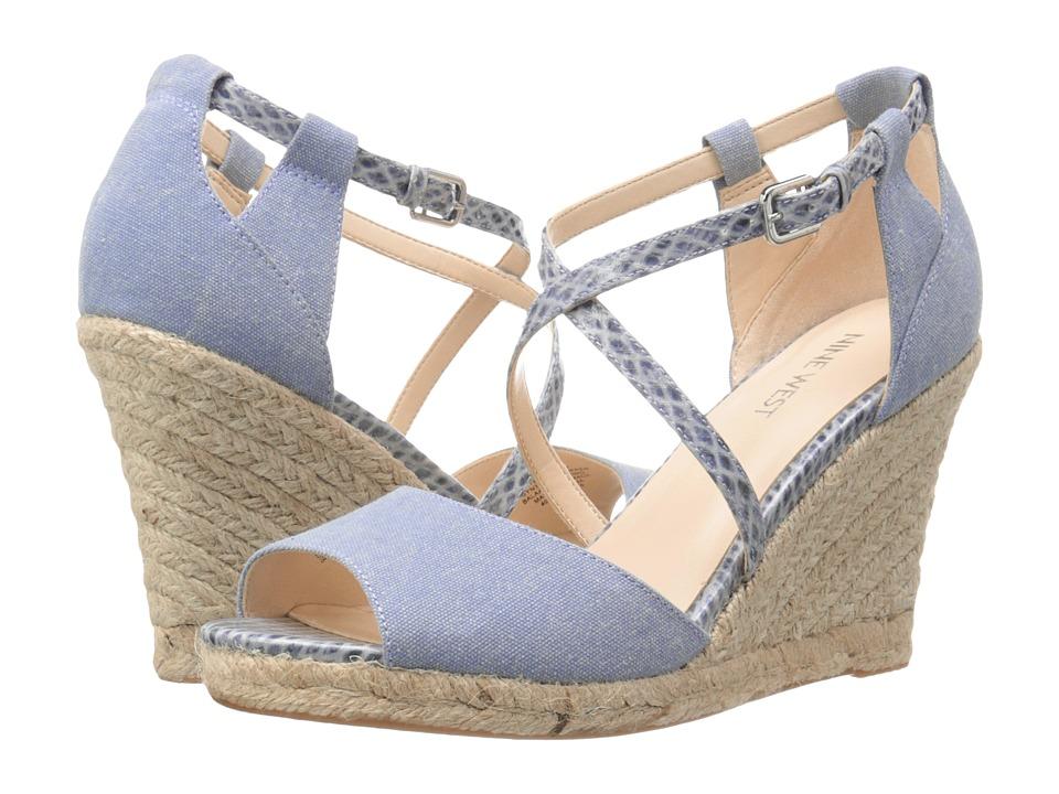 Nine West - Naci (River Blue/Revier Blue Piedra Canvas/Coco Snake) Women's Wedge Shoes