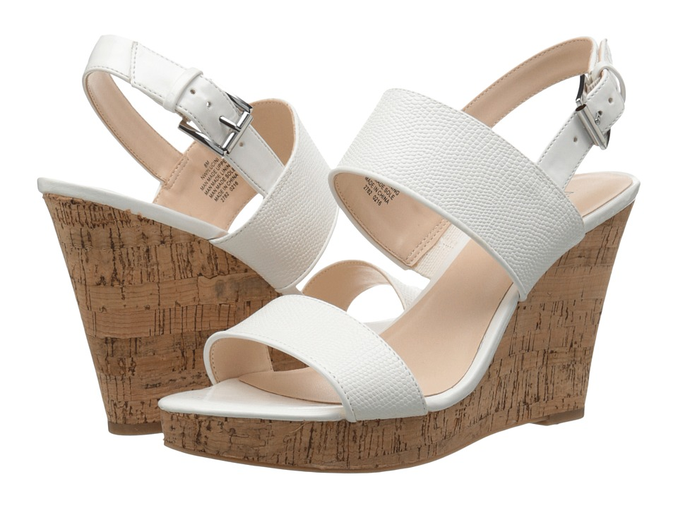 Nine West - Lucini (White/White Synthetic) Women's Wedge Shoes