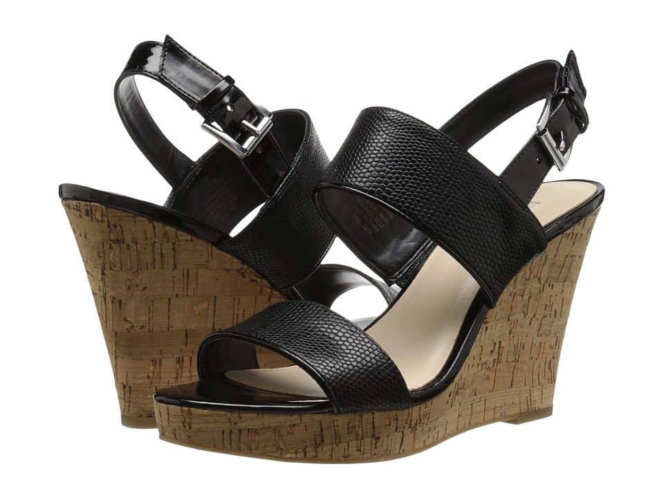 Nine West - Lucini (Black/Black Synthetic) Women's Wedge Shoes