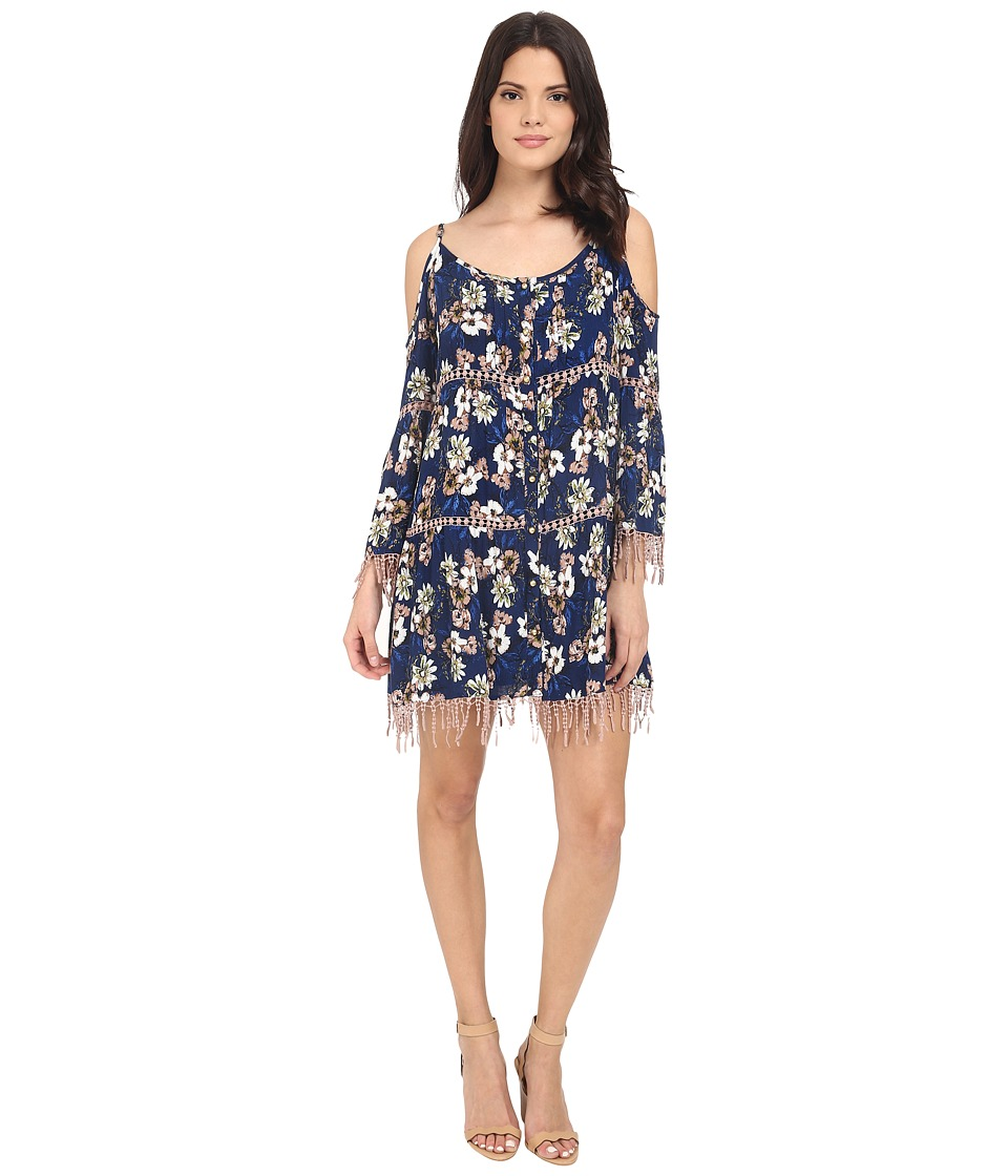 Brigitte Bailey - Audrey Boho Fringe Dress (Navy) Women's Dress