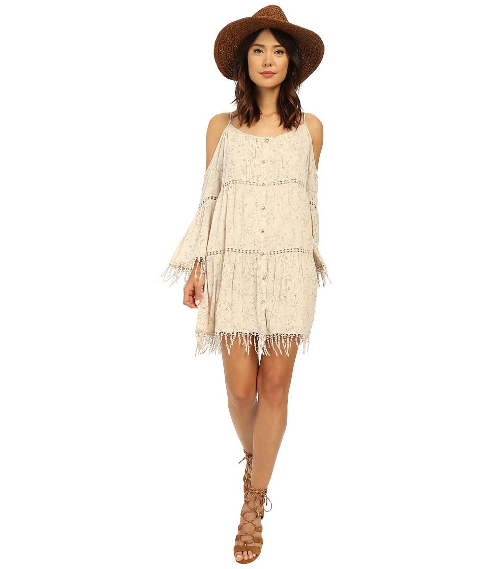 Brigitte Bailey - Audrey Boho Fringe Dress (Light Taupe) Women's Dress