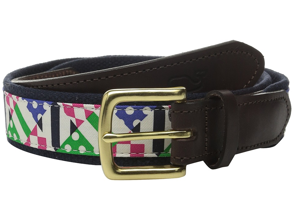 Vineyard Vines - Patchwork Silks Canvas Club Belt (Multi) Men's Belts