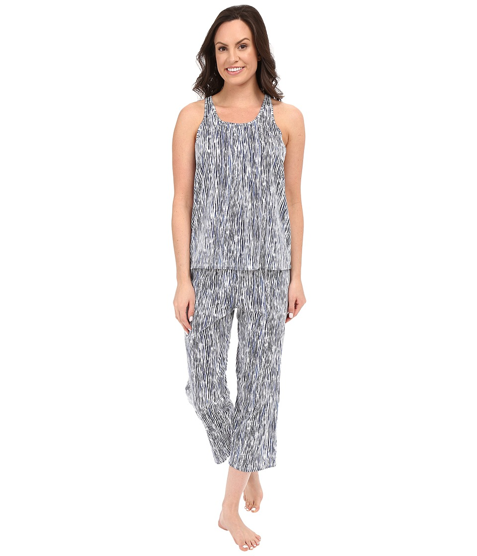 DKNY - Racerback Tank Top Capris Set (White Painterly Stripe) Women's Pajama Sets