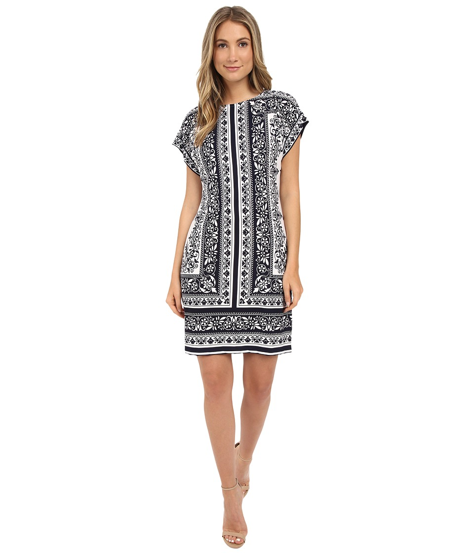 Christin Michaels - Toni Printed Shift Dress (Ivory/Navy) Women's Dress