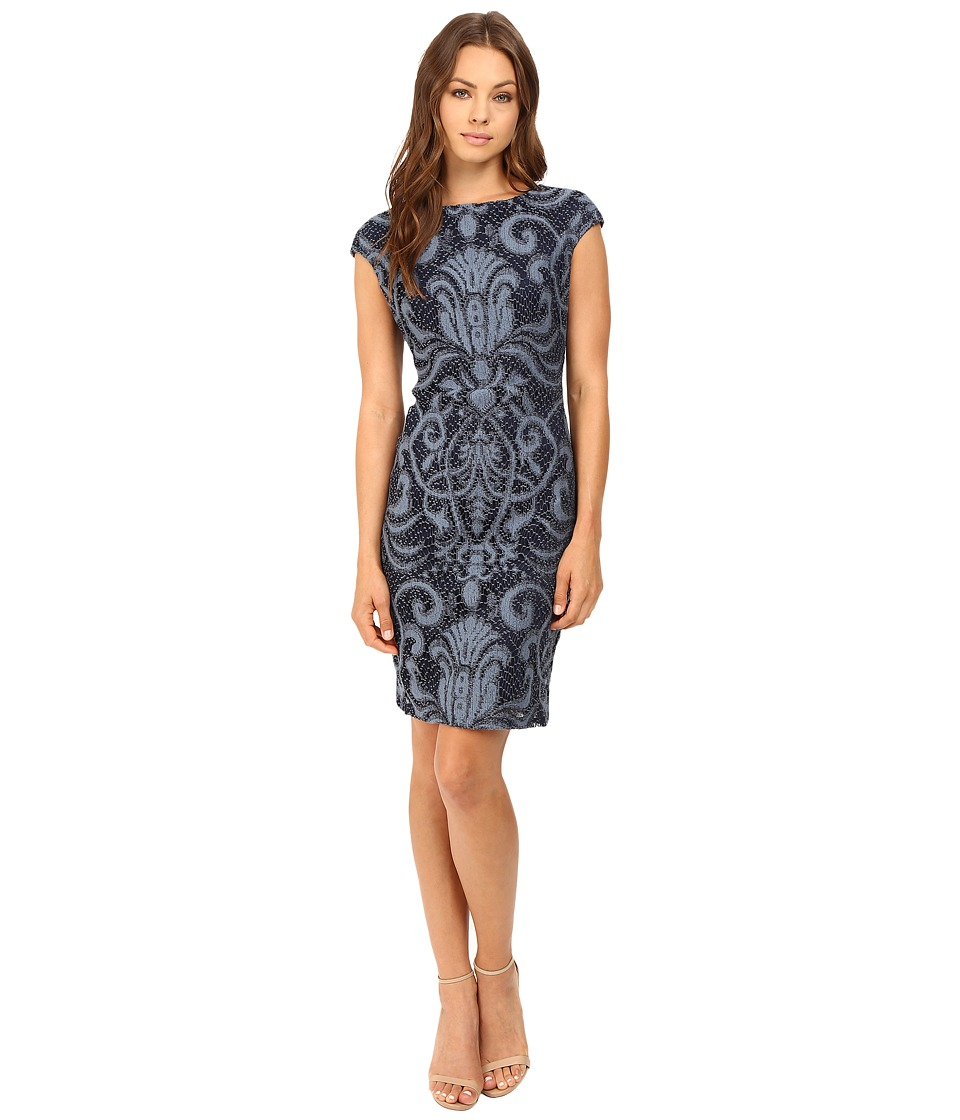Christin Michaels - Emily Placement Lace (Denim) Women's Dress