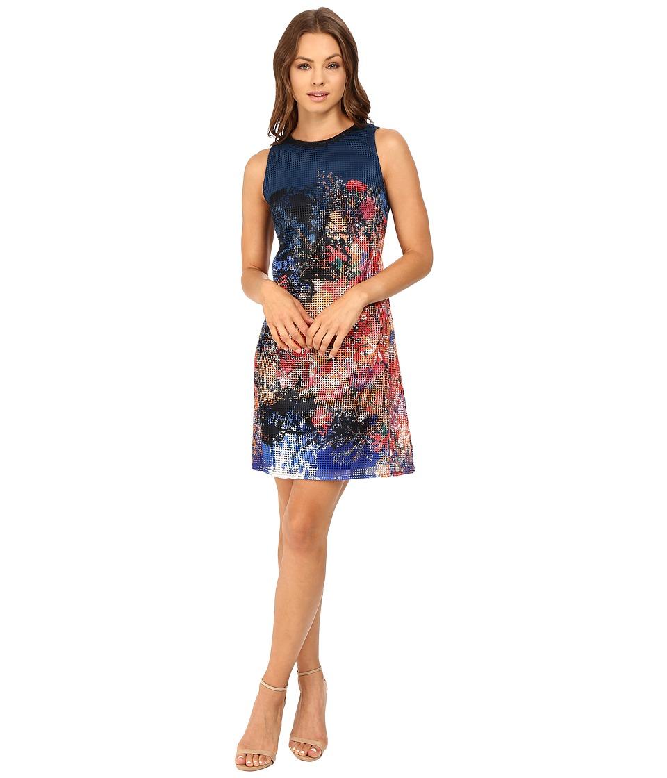 Christin Michaels - Scarlett Printed Lace Dress (Navy/Orange) Women's Dress