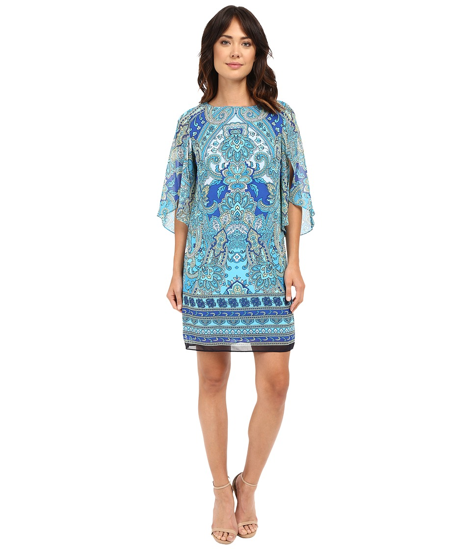 Christin Michaels - Michelle Paisley Shift Dress (Turquoise Multi) Women's Dress