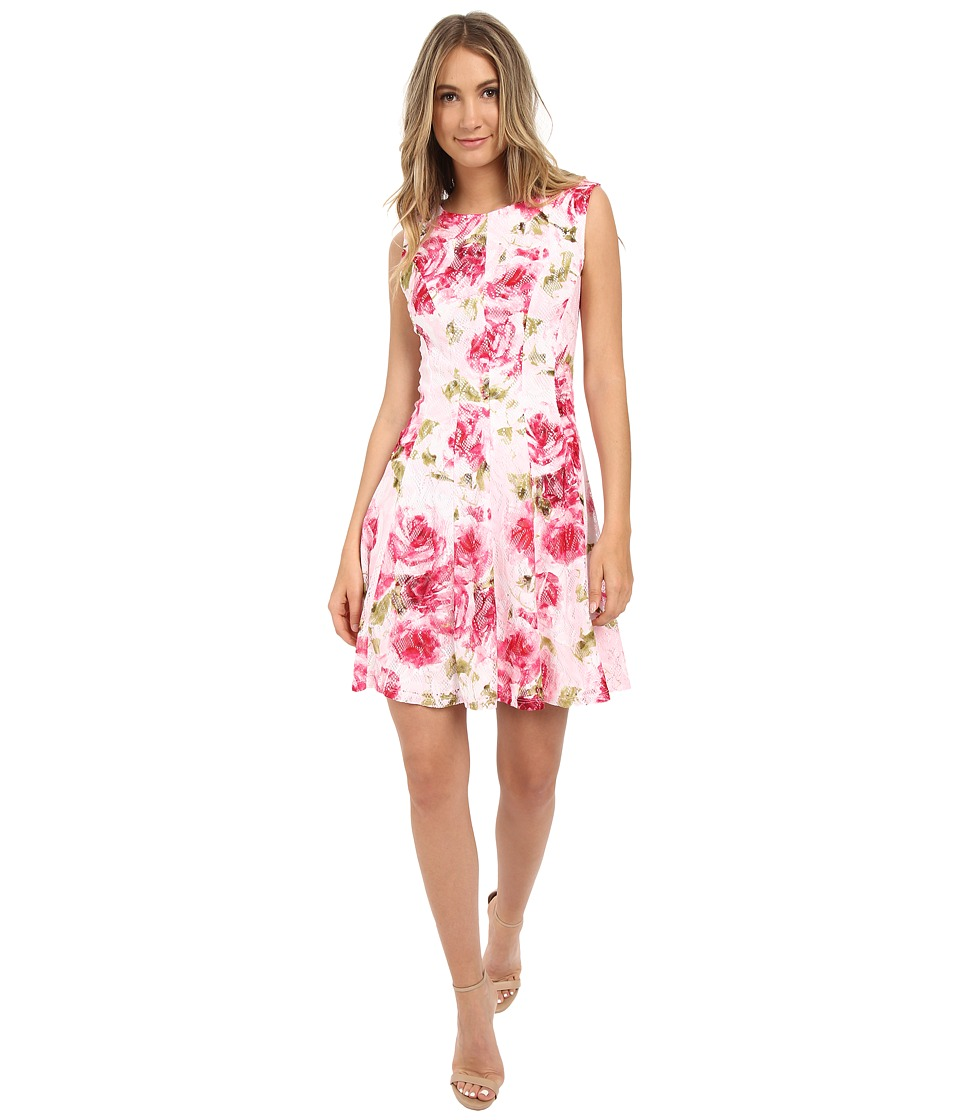 Christin Michaels - Penny Floral Dress (Pink/Fuchsia/Green) Women's Dress