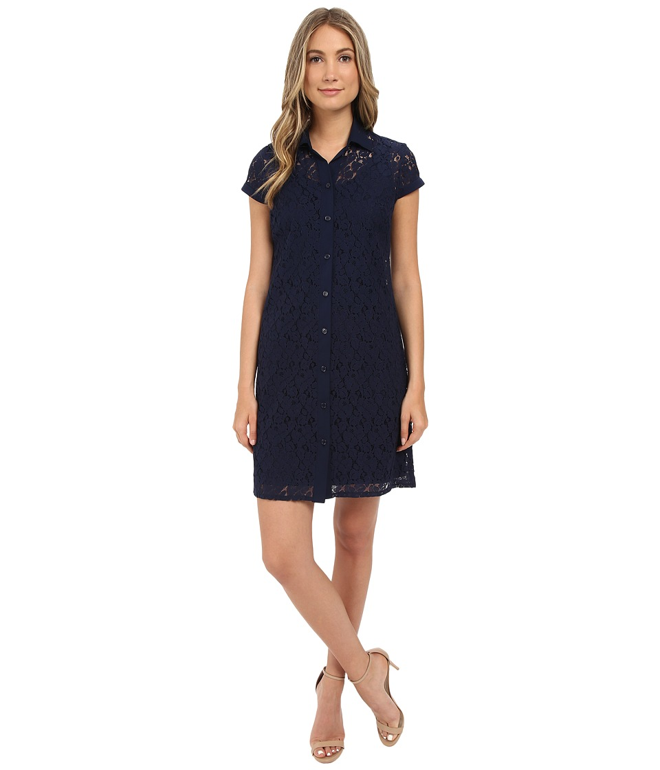 Christin Michaels - Lace T-Shirt Dress (Navy) Women's Dress