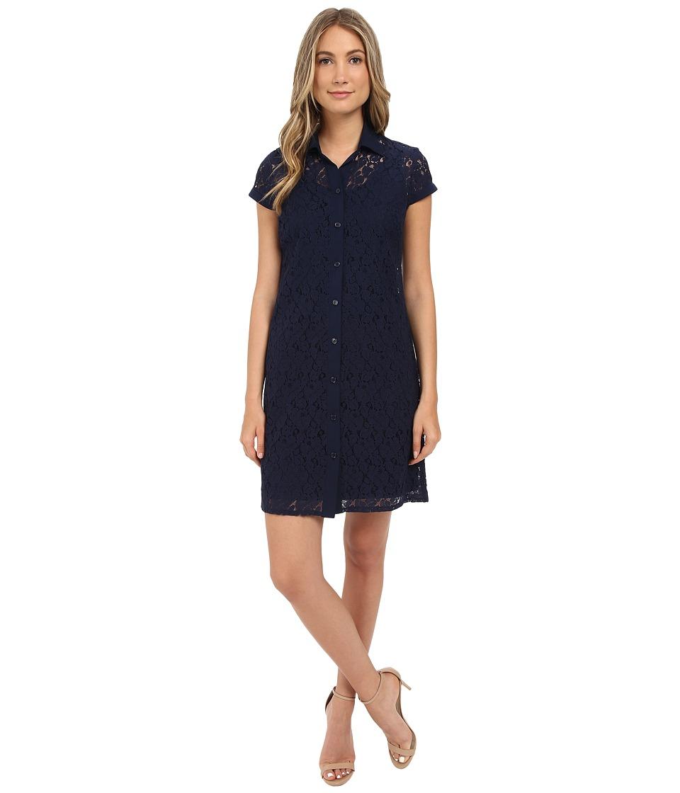 Christin Michaels - Lace T-Shirt Dress (Navy) Women's Dress