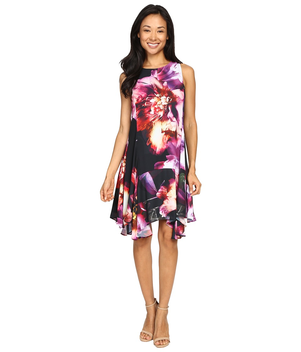 Christin Michaels - Chloe Printed Georgette (Black/Purple) Women's Dress